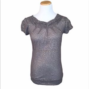 The Limited Sheer Gray/Silver Ruched Neck Blouse